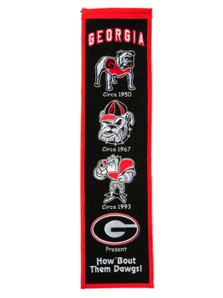 "Georgia Bulldogs Heritage Banner 8""x32"" Wool Embroidered"