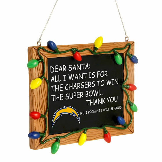 Forever Collectibles - NFL - Chalkboard Sign Christmas Ornament - Pick Your Team (Los Angeles Chargers)