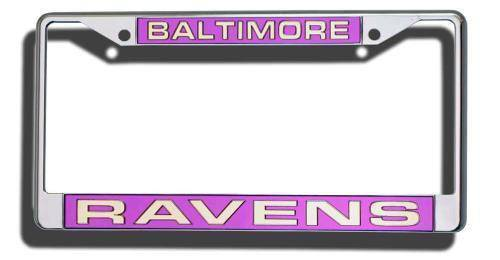 NFL Baltimore Ravens Laser-Cut Chrome License Plate Frame