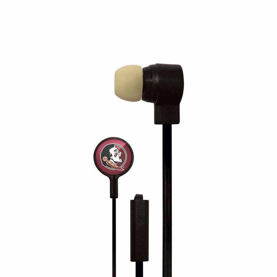 Florida State Seminoles Big Logo Earbud Headphones with Microphone - 757 Sports Collectibles