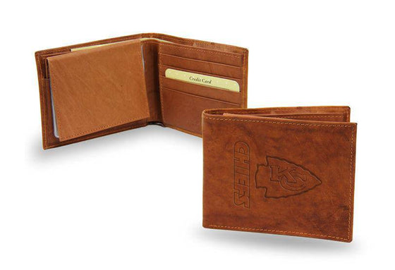NFL Kansas City Chiefs Embossed Genuine Cowhide Leather Billfold Leather wallet w/ gift tin - 757 Sports Collectibles