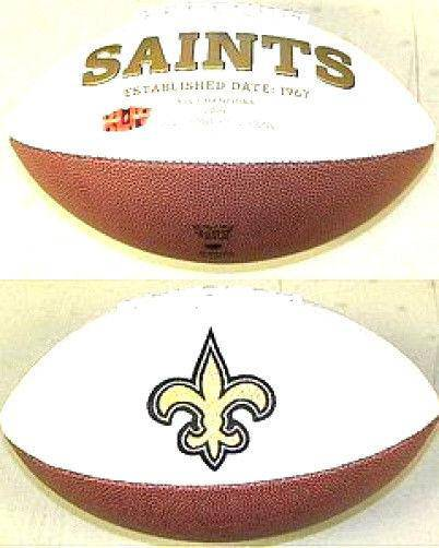 New Orleans Saints Embroidered Logo White Signature Series Football