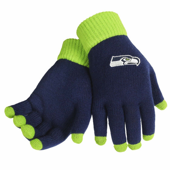 Forever Collectibles - NFL - Solid Stretch Knit Texting Gloves - Pick Your Team (Seattle Seahawks)