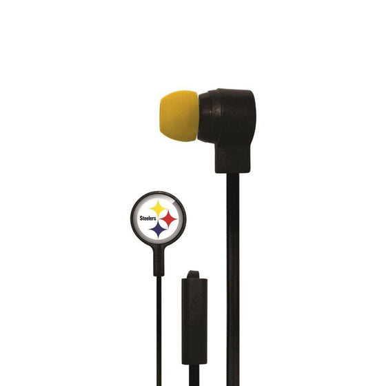 Pittsburgh Steelers Big Logo Earbud Headphones with Microphone