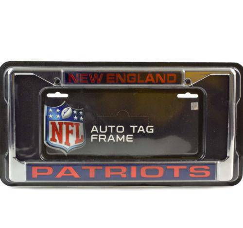 NFL New England Patriots Laser-Cut Chrome License Plate Frame