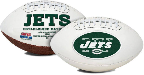 NFL New York Jets Embroidered Logo White Signature Series Football