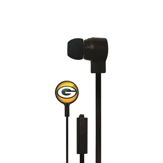 Green Bay Packers Big Logo Earbud Headphones with Microphone - 757 Sports Collectibles