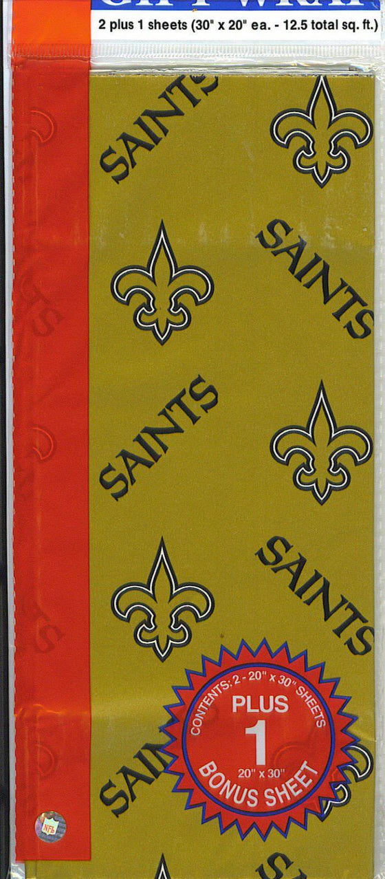 New Orleans Saints Team Logo Wrapping Paper Gift Wrap 12.5 sq ft