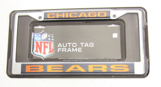 NFL Chicago Bears Laser-Cut Chrome License Plate Frame - 757 Sports Collectibles