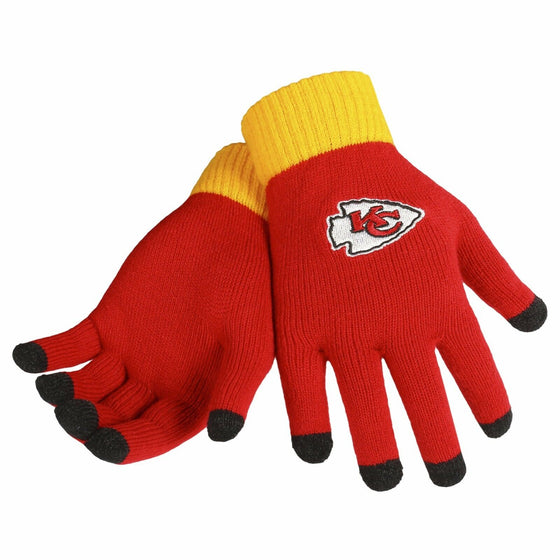 Forever Collectibles - NFL - Solid Stretch Knit Texting Gloves - Pick Your Team (Kansas City Chiefs)