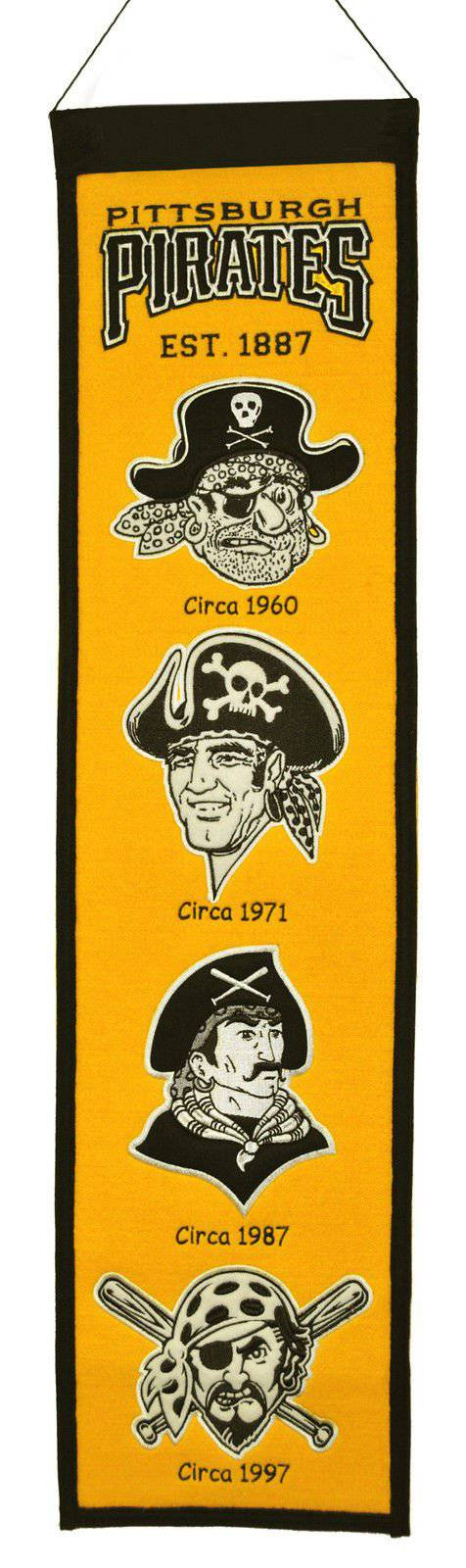 "Pittsburgh Pirates Heritage Banner 8""x32"" Wool Embroidered"