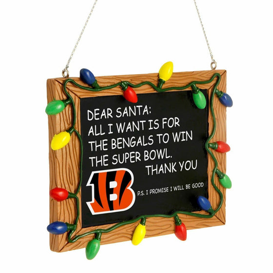 Forever Collectibles - NFL - Chalkboard Sign Christmas Ornament - Pick Your Team (Cincinnati Bengals)