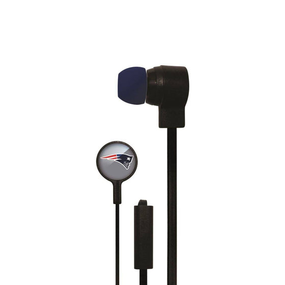New England Patriots Big Logo Earbud Headphones with Microphone