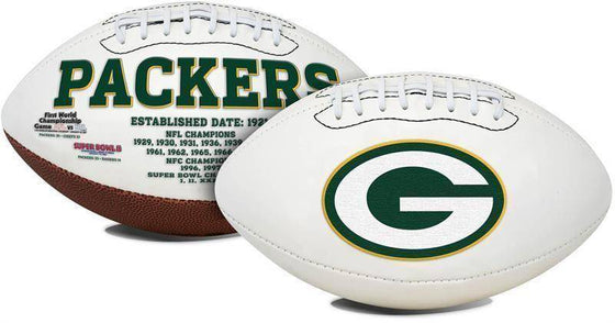 Green Bay Packers Embroidered Logo White Signature Series Football