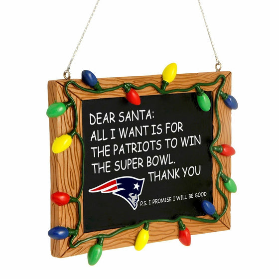 Forever Collectibles - NFL - Chalkboard Sign Christmas Ornament - Pick Your Team (New England Patriots)