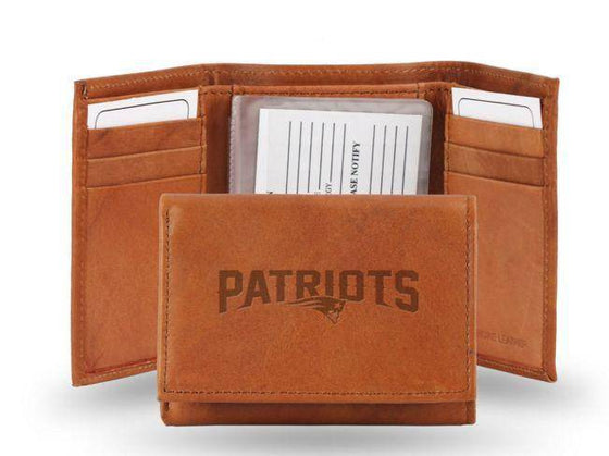 NFL New England Patriots Embossed Genuine Cowhide Leather Trifold Leather wallet w/ gift tin