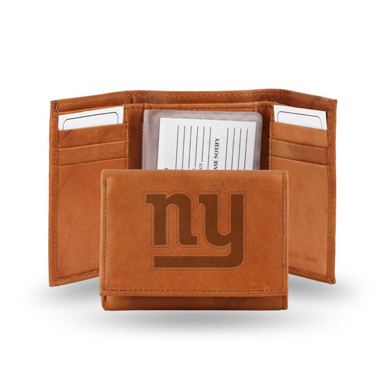 NFL New York Giants Embossed Genuine Cowhide Leather Trifold Leather wallet w/ gift tin