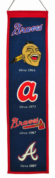 "Atlanta Braves Heritage Banner 8""x32"" Wool Embroidered"