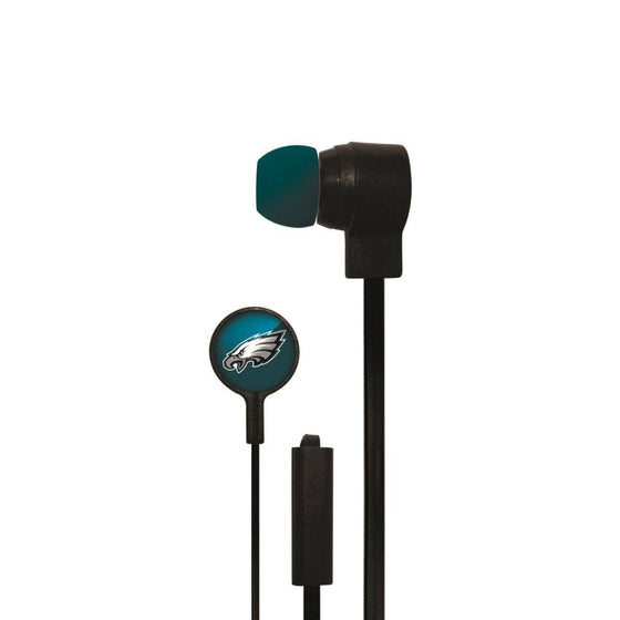 Philadelphia Eagles Big Logo Earbud Headphones with Microphone - 757 Sports Collectibles