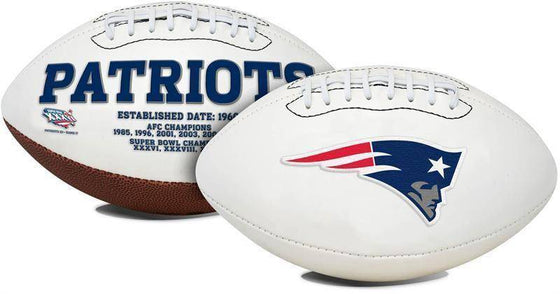 New England Patriots Embroidered Logo White Signature Series Football