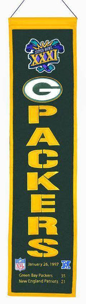 "Green Bay Packers Heritage Banner Super Bowl XXXI 31 Embroidered Wool 8""x32"""