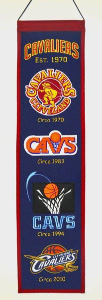 "Cleveland Cavaliers Heritage Banner 8""x32"" Wool Embroidered"