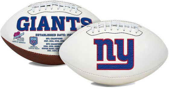 New York Giants Embroidered Logo White Signature Series Football