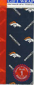 Denver Broncos Team Logo Wrapping Paper Gift Wrap 12.5 sq ft