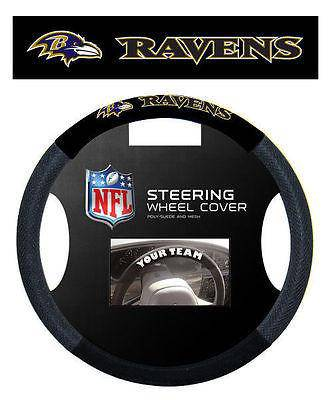 NFL Baltimore Ravens Poly-Suede Universal Steering Wheel Cover - 757 Sports Collectibles