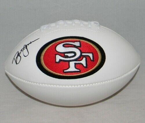 BRENT JONES AUTOGRAPHED SIGNED SAN FRANCISCO 49ERS WHITE LOGO FOOTBALL GTSM