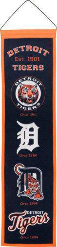 "Detroit Tigers Heritage Banner 8""x32"" Wool Embroidered"