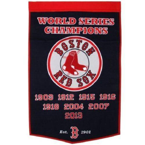"Boston Red Sox Dynasty Banner 24""x36"" Wool Embroidered"