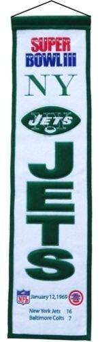 "New York Jets Heritage Banner Super Bowl III 3 Embroidered Wool 8""x32"""