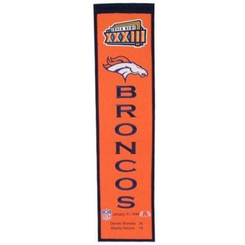 "Denver Broncos Heritage Banner Super Bowl XXXIII 33 Embroidered Wool 8""x32"" - 757 Sports Collectibles"