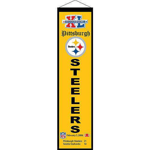 "Pittsburgh Steelers Heritage Banner Super Bowl XL 40 Embroidered Wool 8""x32"""