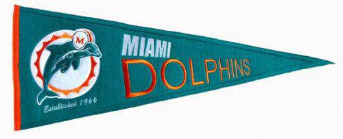 "Miami Dolphins 32"" Wool Embroidered Throwback Pennant - 757 Sports Collectibles"