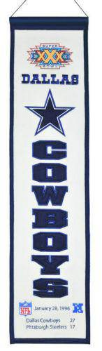 "Dallas Cowboys Heritage Banner Super Bowl XXX 30 Embroidered Wool 8""x32"""