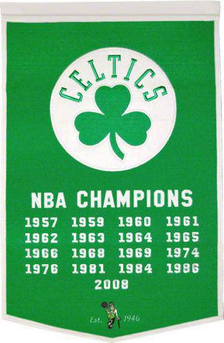 "Boston Celtics Dyansty Banner 24""x36"" Wool Embroidered - 757 Sports Collectibles"