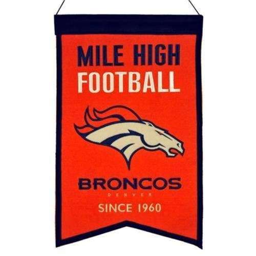 "Denver Broncos Franchise Banner 14""x22"" Wool Embroidered - 757 Sports Collectibles"