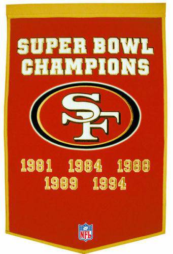 "San Francisco 49ers Super Bowl Dynasty Banner 24""x36"" Wool Embroidered"
