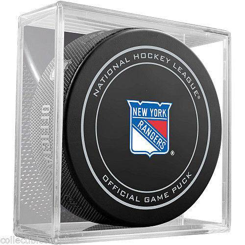 NHL New York Rangers Official Game Puck in Display Cube