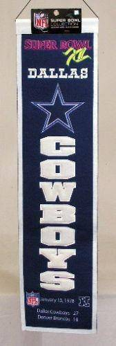 "Dallas Cowboys Heritage Banner Super Bowl XII 12 Embroidered Wool 8""x32"""