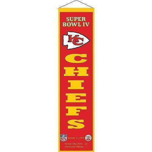 "Kansas City Chiefs Heritage Banner Super Bowl IV 4 Embroidered Wool 8""x32"" - 757 Sports Collectibles"