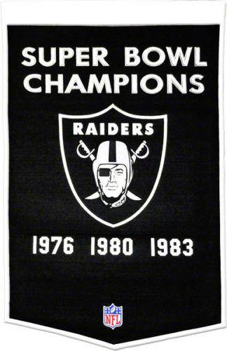 "Oakland Raiders Super Bowl Dynasty Banner 24""x36"" Wool Embroidered"