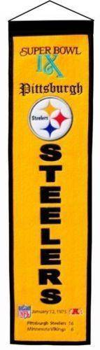 "Pittsburgh Steelers Heritage Banner Super Bowl IX 9 Embroidered Wool 8""x32"""