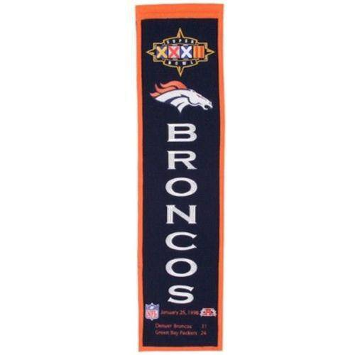 "Denver Broncos Heritage Banner Super Bowl XXXII 32 Embroidered Wool 8""x32"""