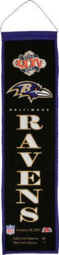 "Baltimore Ravens Heritage Banner Super Bowl XXXV 35 Embroidered Wool 8""x32"""