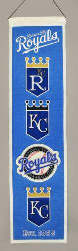 "Kansas City Royals Heritage Banner 8""x32"" Wool Embroidered"