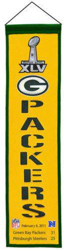 "Green Bay Packers Heritage Banner Super Bowl XLV 45 Embroidered Wool 8""x32"""