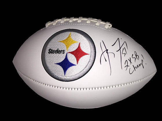 NFL James Farrior Pittsburgh Steelers Autographed Signed Logo Football Insc. 2X SB Champ ( JSA / PSA Pass) 757